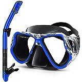 Gintenco Masque de Plongée avec Tuba, Set de Plongée Anti-Buée et Anti-Fuite, Masque Snorkeling Réglable, Tuba Masque Vue Panoramique HD à 180 ° pour Adulte