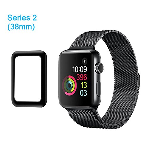 Galleria fotografica aceyoon Screen Protector Case for Apple Watch 38mm Series 2 Ultra Thin 0.2MM HD Clear Apple Watch Tempered Glass Protector 9H Hardness for I Watch Series 2 38mm
