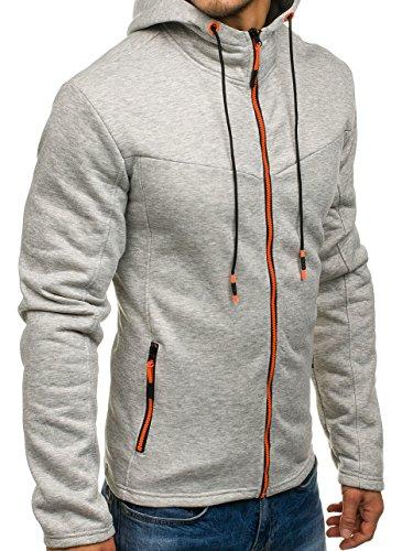 BOLF - Felpa - Pullover - Manica lunga – Maglione - Zip - Classic - Motivo - 1A1 Grigio_DD75