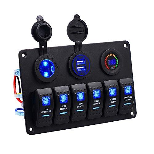 Panel Dual Toma USB + 12V Voltímetro Digital LED