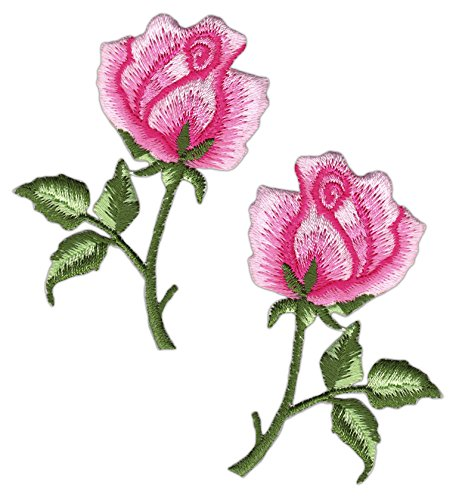 Blumen Rose Rosa Set 2 Stück Aufnäher Bügelbild