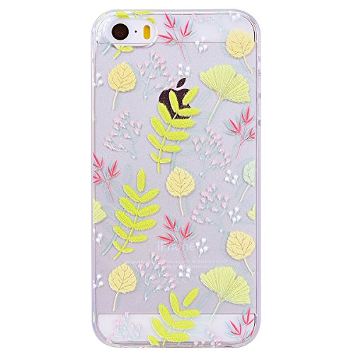 WE LOVE CASE iPhone 5 / 5s / SE Coque, 2 x Étui de Transparente et Clair Coque Souple, Housse de Protection en Premium Silicone Mince Motif Case Pour iPhone 5 iPhone 5S iPhone SE - Chat Coeur De Poule fleur jaune