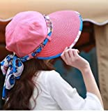 FUNS Summer Hats for Women Wide Large Brim (Plum Red)
