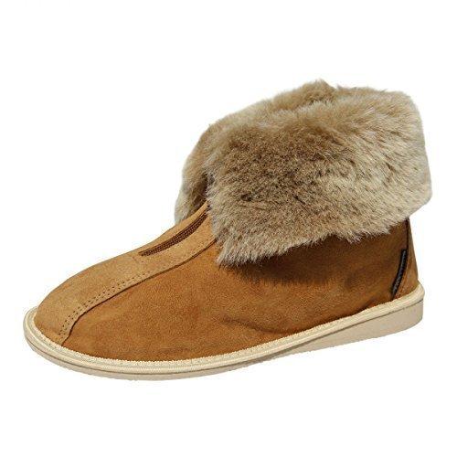 Hollert German Leather Fashion Lammfell Hausschuhe - Alaska Fellschuhe Hüttenschuhe Schaffell Echtleder Damen Herren Size EUR 44