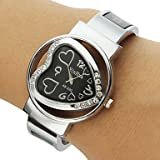 Women's Diamante Heart-shaped Dial Alloy Band Bracelet Watch (Assorted Colors)