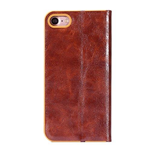 Wkae Crystal Texture PC Full Coverage Horizontale Flip Leder Tasche mit Halter & Card Slots für iPhone iPhone 7 ( Color : Black ) Brown