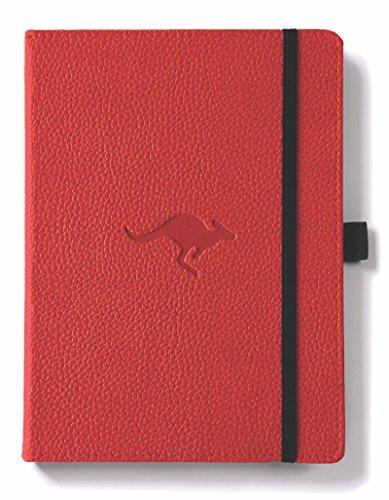 life A5+ Hardcover Notizbuch - PU-Leder, Mikroperforiert 100gsm Creme Seiten, Innentasche, Gummiband, Stifthalter, Lesezeichen (Blanko, Rotes Känguru) ()