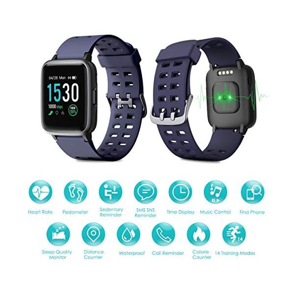 LATEC Pulsera Actividad Reloj Inteligente Impermeable IP68 Smartwatch Pantalla Táctil Completa con Pulsómetro Cronómetro Pulsera Deporte para Hombres Mujeres Niños con iOS y Android 2