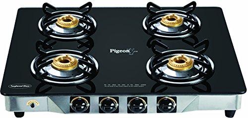 Pigeon Blackline Smart 4 Burner Glass Top Gas Stove, Black