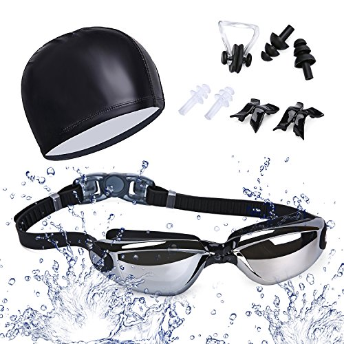 Schwimmbrille Antibeschlag,Laufen 100% UV-Schutz kein Spiegelbeschichtete Linsen Auslaufen Taucherbrille Silikonband mit Schnellverschluss Einstellbare , Geschenke Nasenklammer,Ohrstöpsel & Badekappe