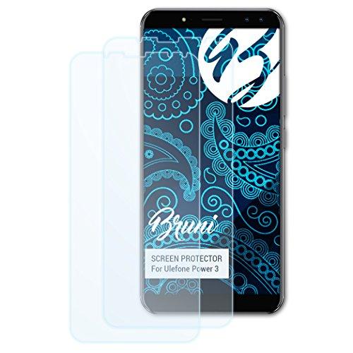 Bruni Schutzfolie für Ulefone Power 3 Folie, glasklare Bildschirmschutzfolie (2X)