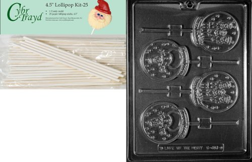 Cybrtrayd 00045st25-c453Snow Globe Lolly sortiert Weihnachten Schokolade/Süßigkeiten Form mit 2511,4Lollipop Sticks (Snow A Globe Making)