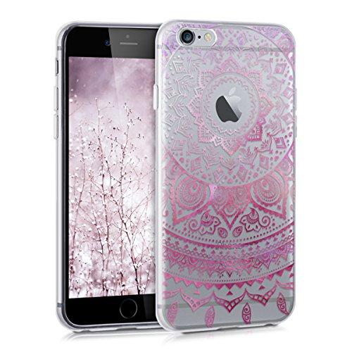 Hülle für Apple iPhone 6 / 6S - kwmobile TPU Silikon Backcover Case Handy Schutzhülle - Cover klar Indische Sonne Design Pink Weiß Transparent