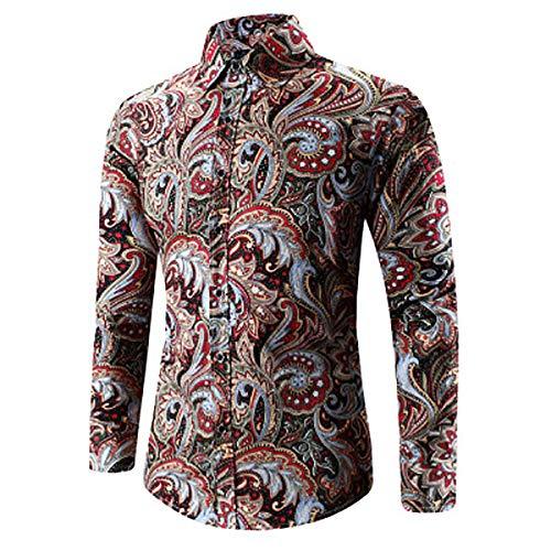 Whj Men es Print Shirt Spitzenknopf Hemd lässige Lange Ärmel kurz Ärmel passend Western Paisley Shirt,blackredL - Paisley Print Western Shirt