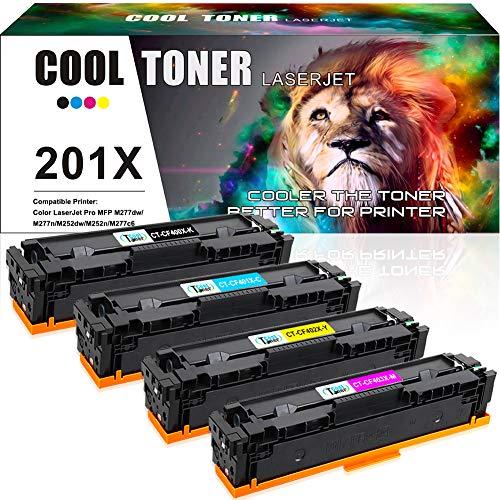 Cool Toner 4 Pack Kompatibel für HP 201X 201A CF400X CF400A Toner für Toner HP Color Laserjet Pro MFP M277dw M252dw M277n Laserjet Pro M252n M274n M277 M252 M277c6 CF400X CF401X CF402X CF403X Drucker - - 2300 Hp Drucker