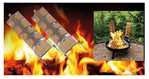 Flammlachs Bretter Set 2teilig inkl. Befestigungsmaterial Buchenholz Fisch Filethalter NEU