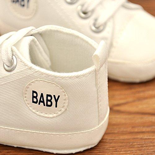 Luerme Babyschuhe Kleinkind Segeltuch Schuhe Weiche Sohle Rutschfester Turnschuhe Wanderschuhe Lauflernschuhe Weiß