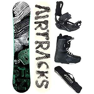 Airtracks Snowboard Komplett Set – STEEZY Snowboard Rocker + Snowboardbindung Master FASTEC ™ + Snowboard Boots + Snowboard Bag / 145 150 155 160 cm