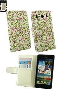 Emartbuy® Huawei Ascend G510 Luxuxmappen Fall / Abdeckung / Schutzhülle Floral Rosa / Grün Mit CRotit Card Slots