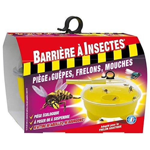 BARRIERE A INSECTES BARPIGUEP Piège à Guêpes, Frelons, Mouches et Moucherons - 1 Piège, Jaune, 20.5 x 20.5 x 18 cm