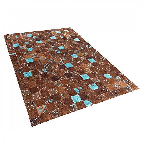 Teppich-Braun-Blau-Patchwork-Leder-Fell-Lufer-Fellteppich-160x230-cm-ALIAGA
