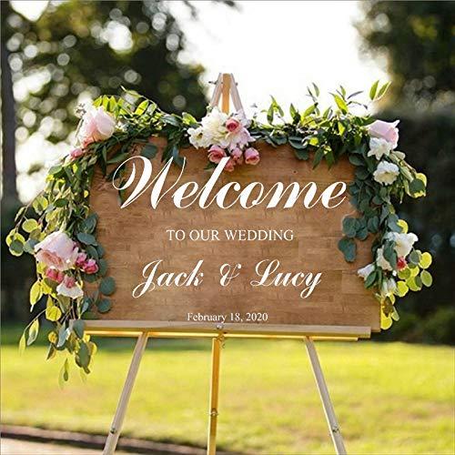 WSLIUXU Decorazioni per matrimoni Applique Personalità Sposi Nome Data Adesivi personalizzati Benvenuti nei nostri adesivi murali da casa e giardino Morbido rosa 35 80x57cm
