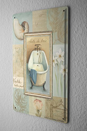 Blechschild Badewanne Tulpe Narzissen Muschel Nostalgie Metall Deko Schild 20X30 cm