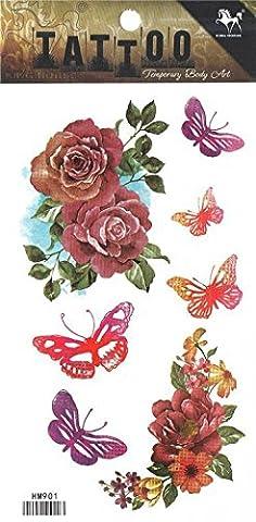 Grashine lange letzte temporäre Tattoos Bunte Blumen und Schmetterlinge sehen