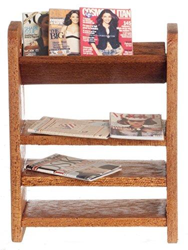Miniatura Per Casa Delle Bambole 1:12 Mobili In Noce Mensola mensola Libreria con riviste