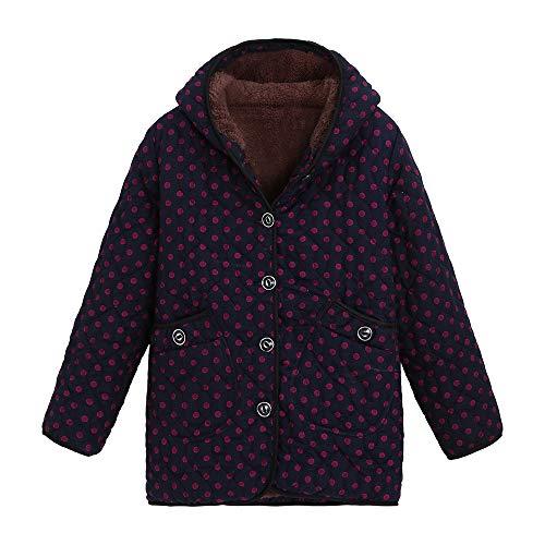 (UJUNAOR Damen Jacke Vintage Print Button Langarm Dick Baumwolle Kapuzenjacke Geschenk für Mama(Wassermelonenrot,EU XL/CN 2XL))