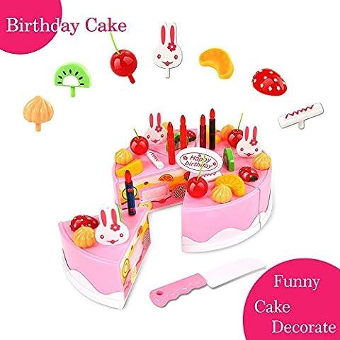 Cadeau d'anniversaire de la fête des enfants Jeu de jouets de jouets Jeu Décoration de bricolage Jeu de fête Gâteau de fête d'anniversaire avec des bougies pour les enfants Les bébés enfants filles Classic Toy 37pcs BigNoseDeer