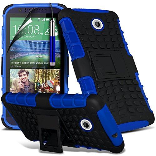 Htc Protector 510 Screen ((blau) HTC Desire 510 hülle Hochwertige starke und haltbare Survivor Hard robuste Stoßfest Heavy Duty bei zurück Stand Skin Case Cover& Screen Protector von i-Tronixs)
