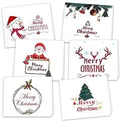 Idea Regalo - Kuuqa 36 Pezzi Cartoline di Natale con 36 buste e 36 adesivi (6 disegni)