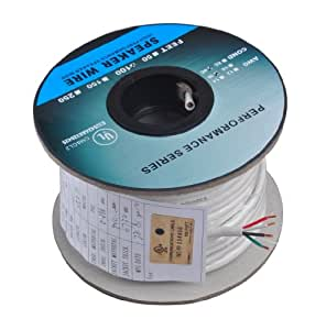 C&E 100 Feet 18AWG CL2 Rated 4-Conductor Loud Speaker Cable (For In-Wall Installation)