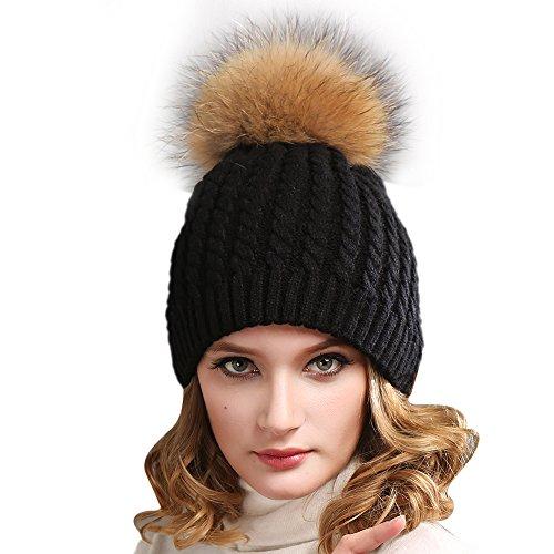 yanibest-donna-uncinetto-maglia-pelliccia-cappello-berretto-con-pompon-real-raccoon-pom-pom-black-ta