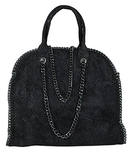 Stella Metallic Tote (Henkeltasche Damen Handtasche SYDNEY schwarz Lederlook mit Kette)