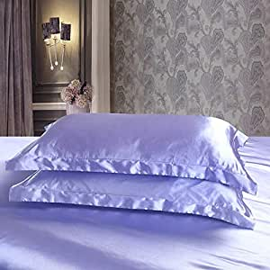 Dehman 2X 100-Percent Silky Satin Pillowcase for Hair Beauty, Prevent Side Sleeping Wrinkles, Have Good Dreams (Blue, Toddler Size,12X19 INCHES)