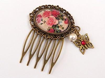 Petit peigne à cheveux en bronze rose avec perle de coquille