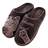 JACKSHIBO Herren Hausschuhe, Warme Plüsch Hausschuhe Indoor Rutschfeste Slippers Cartoon Cat Pantoffeln für Damen,Braun,EU44/EU45