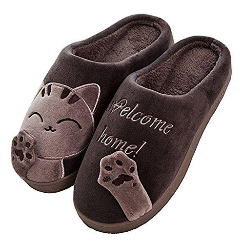JACKSHIBO Herren Hausschuhe, Warme Plüsch Hausschuhe Indoor rutschfeste Slippers Cartoon Cat Pantoffeln Für Damen, Brown, 44/45 EU