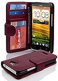 Cadorabo Hülle für HTC One X/Hülle in Handyhülle mit 3 Kartenfächern Case Cover Schutzhülle Etui Tasche Book Klapp Style Bordeaux Lila