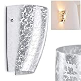 Wandleuchte Severo aus Glas in Silberfarben mit Struktureffekt – LED-geeignet - Up & Down Wandspot mit Corpus in ovaler Trichterform für Wohnzimmer, Schlafzimmer - Wandstrahler E27-Fassung 60 Watt
