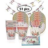 KOBWA Einhorn Birthday Party Supplies Set Geburtstag Geschirr Set einschließlich Pappteller, Gabeln, Popcorn-Kasten, Geburtstag Banner und Servietten 51 Stücke