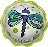 Caffco International Dana Wittmann Collection Round Ruffle-Edged Ceramic Bowl, 5.75-inches in Diameter, Dragonfly