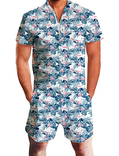 Kostüm Cooler 90er Jahre - Loveternal 3D Strampler Jumpsuit Hawaiian Flamingo Overall Herren Einteilige Strand Kurzarm Party Outfits Zip Up Onesie Kurz Romper Sommer Shirt L