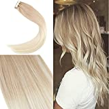 YoungSee 16zoll/40cm Remy Echthaar Extensions Tapes Balayage Hell Gold-Braun mit WeiBe Blondine Echte Haare Tape in Tressen 50g/20pcs/pack