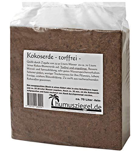 Humusziegel - gepresste Blumenerde aus Kokosfaser - Kokosblumenerde, 70 Liter