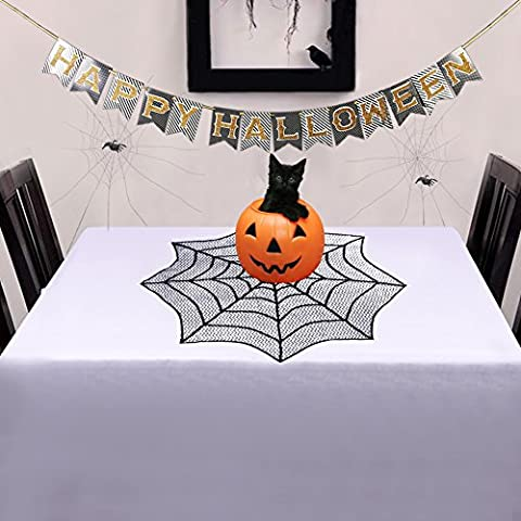 OurWarm Halloween Table Topper Black Lace Spider Web 30 Inch Round Table Centre Mat Home Garden Party