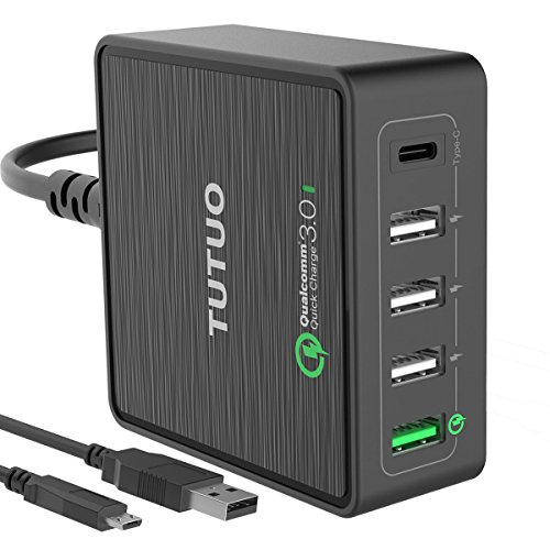 TUTUO QC-025PT [Qualcomm Quick Charge 3.0] 40W 5-Port USB Wall Charger con USB di tipo C, CA Smart Power Adapter stazione di ricarica per Nexus 5X, 6P, Pixel, MacBook, HTC10, LG G5, Galaxy S7 / S6 / Edge / Plus, Note 5 / 4 iPhone 7 / 6s / Plus, iPad Pro / Air 2 / mini e Altro Nintendo Switch (Type-C, Nero)