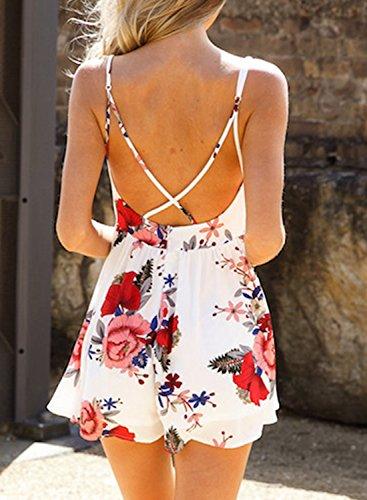 Azbro Women's Spaghetti Strap V Neck Floral Printed Backless Mini Dress white